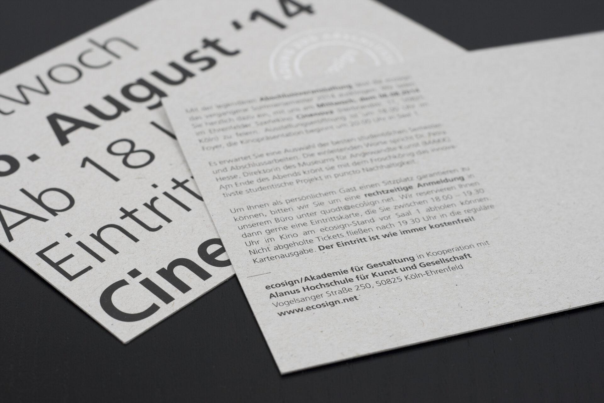 ecosign – Cinenova Einladung